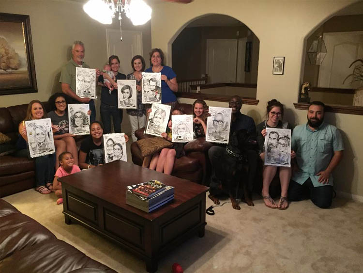 Jody Brownd Caricatures Family Party